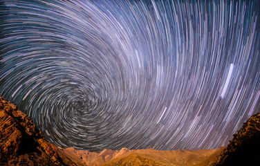 Star spiral in the mountains