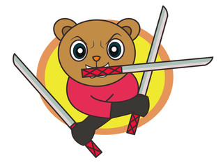 Cartoon Ninja Bear Holding Three Swords