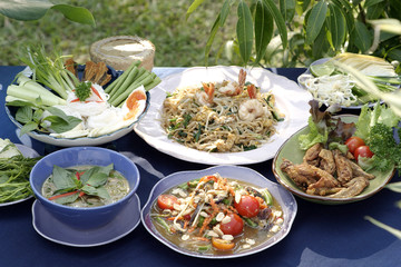 thai food set on the table