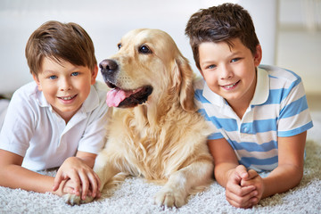 Boys and labrador