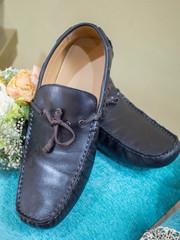 Men's Leather Loafer on Velvet Cushion as Wedding Gift