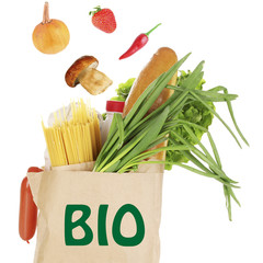 Paper bag with bio products isolated on white
