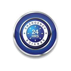 24 Hours Emergency Service Blue Vector Icon Button