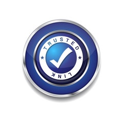 Trusted Link Blue Vector Icon Button