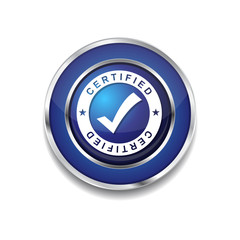 Certified Blue Vector Icon Button