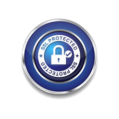 SSL Protected Link Blue Vector Icon Button