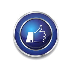 Thumbs Up Blue Vector Icon Button