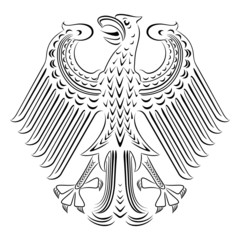 Vector black and white coat of arms of Germany.