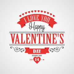 Happy Valentine's Day Lettering Card - Typographical Background