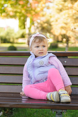 scared Girl on Bench