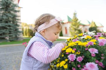Girl Touching Flower