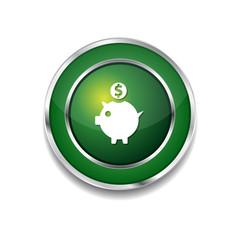 Piggy Bank Green Vector Icon Button