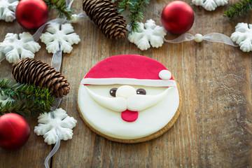 Père Noël au chocolat et décoration de Noël