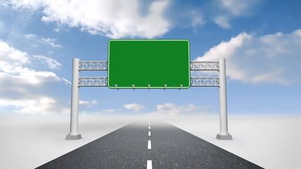 Green billboard against blue sky