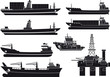 cargo Vessels tugboat and oil platform - 75161250