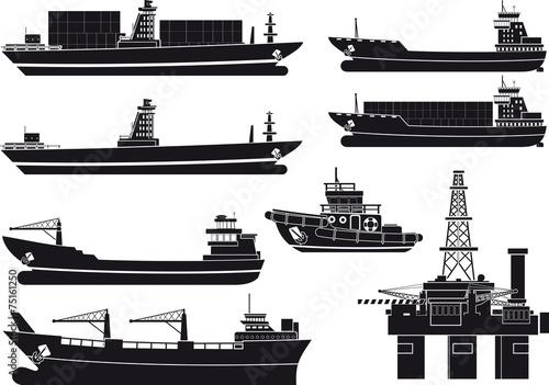 cargo Vessels tugboat and oil platform - 75161250