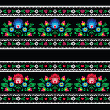 Seamless Polish folk art pattern with flowers on black