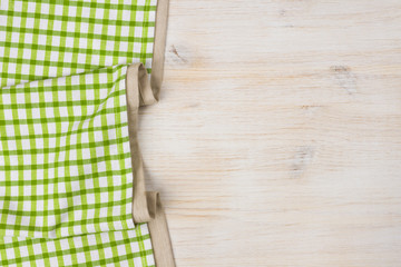 Tablecloth textile on bleached wooden background