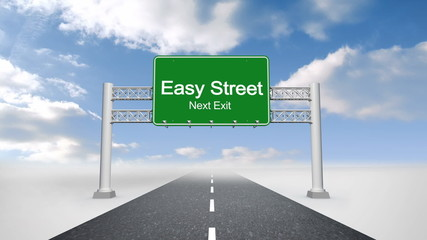 Easy street road sign against blue sky