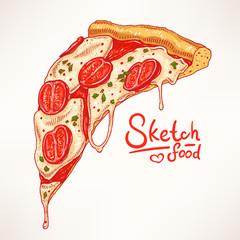 appetizing slice of pizza Margherita