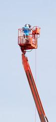 cameraman working in crane.