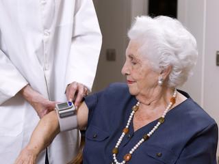 Portrait of an elderly woman, taking the strain