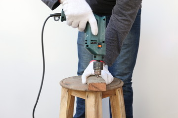 Carpenter used drill hole drilling wood.