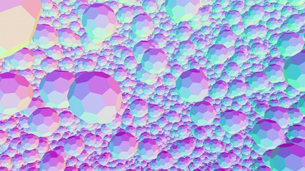 Multicolored flying multifaceted balls