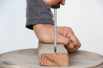 Screw & Screwdriver in Wood.