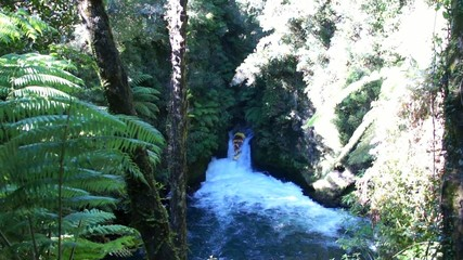 Descent from the Tutea Falls. Kaituna rafting in New Zealand
