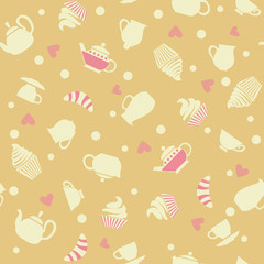 Cupcake pattern of tea and cakes.
