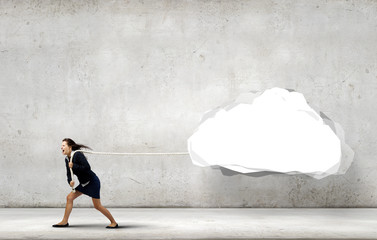 Woman pulling cloud