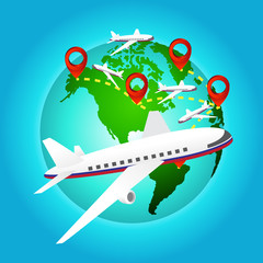 airplane travels around the world with pin icon