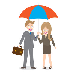 young smiling businessman and woman with opened umbrella