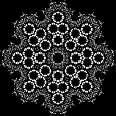 abstract gothic symmetric pattern on black background