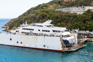 Large Yacht in Dry Dock