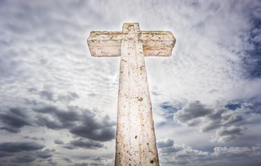 Cross over cloudy sky, wide angle