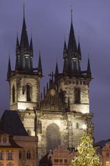 Prague with christmas decoration