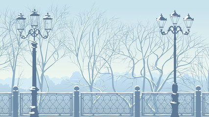 Horizontal illustration of snowy park in blue tone.