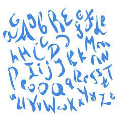 Blue ink grunge aphlabet