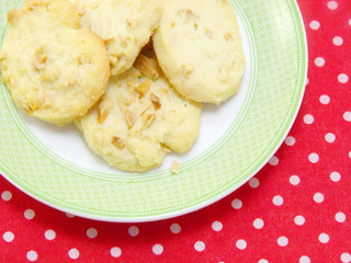 butter cookie on red polka dot fabric