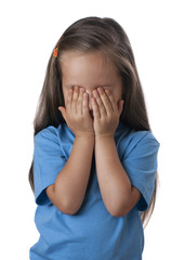 Young girl covering her eyes over. Isolated white background