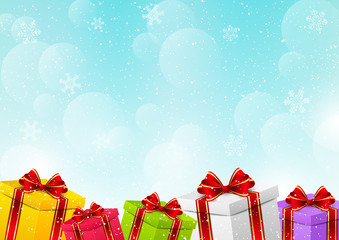 Christmas gift boxes on winter background