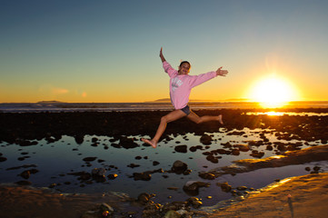 Leaping over tide pools during the California winter