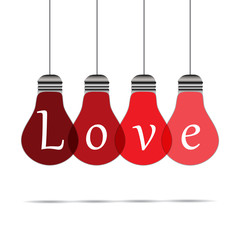 White background, 4 lamps shown the word love