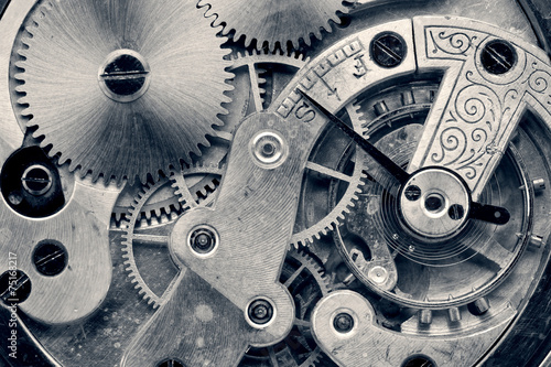 Leinwanddruck Bild vintage clock machinery,retro photo