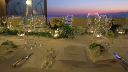 beautiful romantic table setting with candles