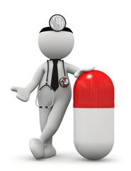 omino bianco dottore con capsula