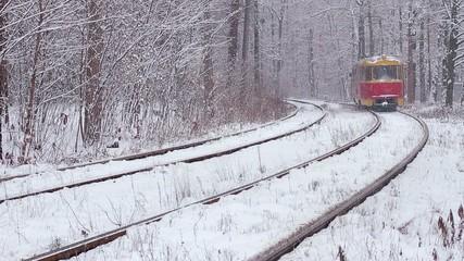 fairytale tram in  snowy forest