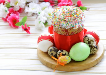Easter cake with glace icing and colored easter eggs